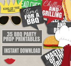 35 BBQ Party Prop Printables, Barbeque photo props, BBQ theme party props, summer party photobooth, bbq party decor instant download by YouGrewPrintables on Etsy