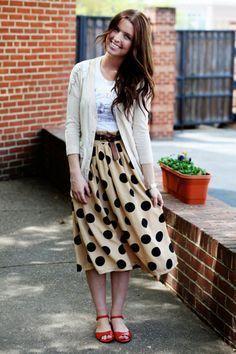 cardigan and dot skirt