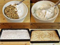 Prăjitură cu blat din bezea cu nucă și cremă de vanilie – Vicky's Recipes Biscuit, Mashed Potatoes, Cereal, Dairy, Cheese, Breakfast, Ethnic Recipes, Desserts, Erika