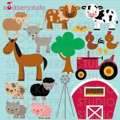 Farm Animals Personal and Commerical Use Vector Clipart Set. - Instant Download