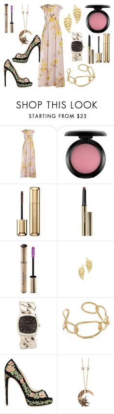 """Floral themes"" by hillarymaguire ❤ liked on Polyvore featuring Giambattista Valli, MAC Cosmetics, Guerlain, Trish McEvoy, Christian Dior, Jennifer Meyer Jewelry, DKNY, Jules Smith, Marchesa and Roberto Cavalli"