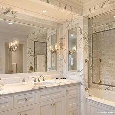 Carrara Marble Shower, Transitional, bathroom, Dillon Kyle Architecture