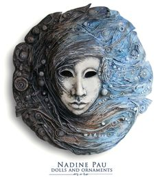 art by Nadine Pau (Nadine Shahristenberg)  papier mache, sculpture, tempera, acrylic, oil, lacquer, patina,  interior mask.