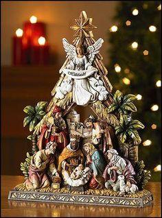 "Christmas Nativity Scene with Angel and Three Wisemen Stone Resin 10.5"" Tall"