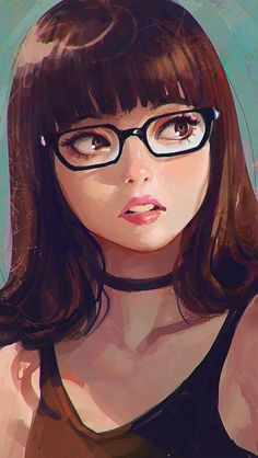Curious girl, artwork, original, glasses wallpaper - My Manga Art Anime Fille, Anime Art Girl, Anime Girls, Manga Girl, Cartoon Kunst, Cartoon Art, Art And Illustration, Fantasy Kunst, Fantasy Art