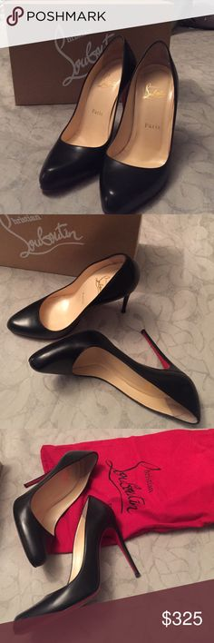 Authentic black Christian Louboutin pumps, size 37 Beautiful, practically new black Decollete Louboutin heels in black. Size 37, comes with duster and box. Awesome deal-60% off! Almost 4 inch heel Christian Louboutin Shoes Heels