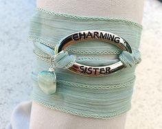 Hand Dyed Silk Ribbon Wrap Bracelet - Seafoam Charming Sister Hemimorphite