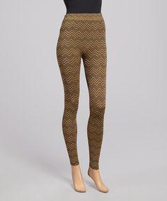 Look what I found on #zulily! Gold & Black Chevron Leggings - Women by SR Fashions #zulilyfinds