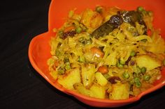 Indian-style stir fried cabbage,potato and peas