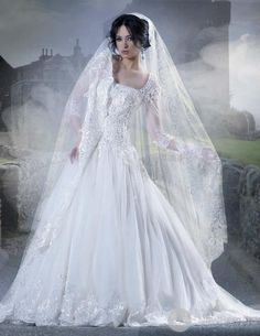 #wedding #dress #sleeves #lace #modest