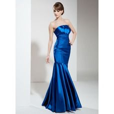 [US$ 132.99] Mermaid Scalloped Neck Floor-Length Charmeuse Evening Dress With Ruffle (017002646)