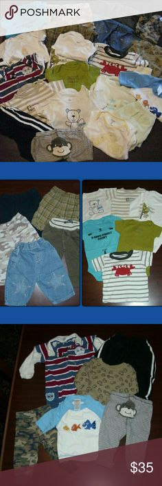 HUGE 3-6 MONTH BOY BUNDLE!! 22 items total. 2 items are gently used. some new never worn! BRANDS** 12 are Carter's? 2 are little wonder's? 2Gymboree 1 Cherokee? 1 koala kid 1 sesame st 1 garanimals 1faded glory ITEMS*** 1 short 9 pants 2 t-shirts? 1 jumpsuit? 4 long sleeve onesies? 5 short sleeve onesies Matching Sets