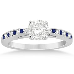 Cathedral Blue Sapphire Diamond Engagement Ring Palladium 0.26ct, Women's, Size: 6.5