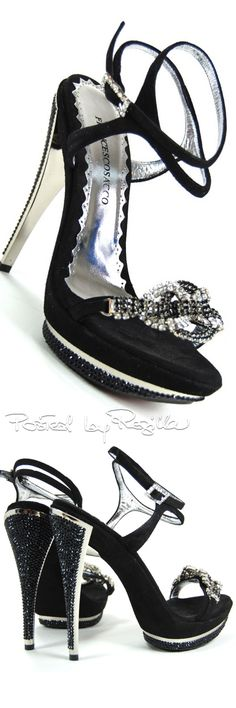 Francesco Sacco ~ Fall Suede Double Ankle Strap Sandals w Sequinned Heels+Toe Bow, Black 2015