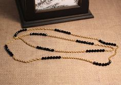 Avon Beaded Rope Twist gold tone chain with black by FrogTears