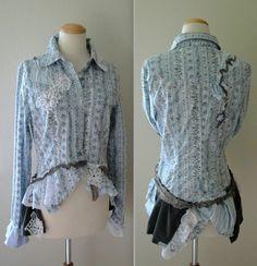 Upcycled ruffle shirt off Etsy.....