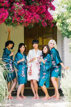 Bridesmaids bridal party kimonos
