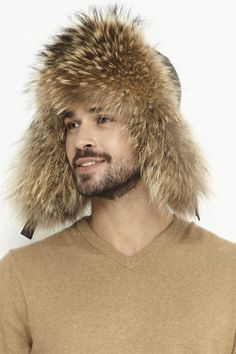 Fur hat for men made from natural lamb leather and natural raccoon/fox fur. Hat For Man, Fox Fur, Coats For Women, Black And Brown, Fur Coat, Fall Winter, Hats, Leather, Girls Coats