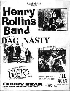 Rollins Band, Dag Nasty, Youth of Today punk hardcore flyer