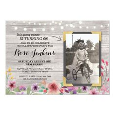 Photo Pink Birthday Floral Rustic Wood Invitations Add your photo to this vintage style chalk invite. Add any age. Back print included. Circus Birthday Invitations, 70th Birthday Card, Rustic Birthday, Pink Birthday, Birthday Ideas, Birthday Parties, Surprise Birthday, Disney Birthday, Tea Parties
