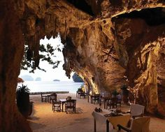 Restaurant in a cave, Grotta Palazzese, in the cliffs Polignano to Mare, Province of Bari, Italy.