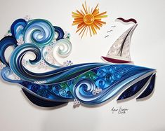 Wave and sailboat-Unique gift for Anniversary | Etsy Neli Quilling, Paper Quilling Flowers, Paper Quilling Jewelry, Paper Quilling Patterns, Quilling Paper Craft, Quilled Roses, Quilling Comb, Quilling Ideas, Paper Crafting