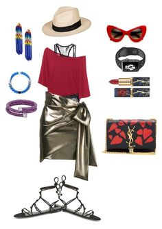 """Attire for Getaway"" by sunnyjuke ❤ liked on Polyvore featuring Yves Saint Laurent, Rebecca Minkoff, Roxy, NIKE, Swarovski, Lokai and Lele Sadoughi"