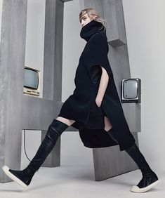 Rick Owens dress, $3,225, and boots (worn throughout), $2,040, rickowens.eu. Photograph by Craig McDean. Styled by Joe McKenna.