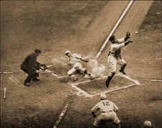 October 8, 1934. Game 6 of World Series. Jack Rothwell scores under Mickey Cochrane's leap.