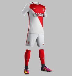 62aca02a7 Monaco 16-17 Home Kit Released - Footy Headlines Uniformes Futebol
