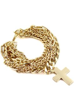 Gold Multilayer Chain Cross Bracelet US$6.93