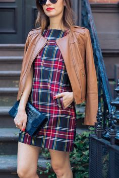 Brown leather jacket from white house black market with plaid shift dress M Loves M @marmar
