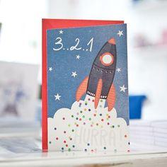 3..2..1 HURRA!  Happy Birthday Postcard #die_buntique #diebuntique #postcard #rocket #space #babyboy #confetti #design #littleprintstore #handmade #kirchengasse #vienna Kirchen, Photo And Video, Space, Videos, Instagram, Design, Capes, Confetti, Floor Space