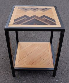 Custom End Table Welded Frame Reclaimed Wood Top by KarmaDeefa