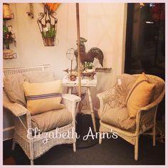 Old vintage wicker, vintage ticking, and grain sack pillows....💕💕 #elizabeth_anns #oakmountainemporium #vintagewicker #ticking #grainsack