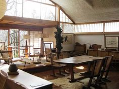 Somewhere I would like to live: George Nakashima Japanese Home Design, Japanese Style House, Rock Cafe, George Nakashima, Japanese Interior Design, Design Case, Mid Century House, Decoration, Interior Architecture