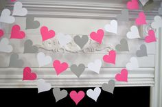 Wedding Garland, Valentines Garland, White Gray Pink Heart Decorations, Bridal shower decor, Baby shower decor, any occasion garland on Etsy, $10.00
