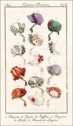 journal des dames et des modes- taffeta bonnets and capotes (bonnets with a soft crown), straw bonnets