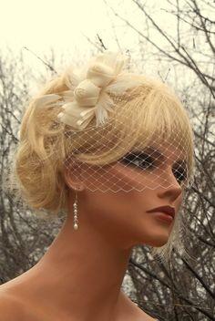 Ivory Bridal Fascinator with French Net Veil - fascinator bridal hair clip, womens accessories, wedding hair clips, bridal veil