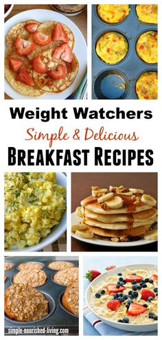 Healthy Weight Weight Watchers Breakfast Recipes, Simple, Healthy, Delicious, all with calories and Smart Points Plus for staying on track with menus Plats Weight Watchers, Weight Watchers Breakfast, Weight Watchers Diet, Weight Watcher Dinners, Weight Loss Meals, Losing Weight, Weight Watchers Points Plus, Weight Watchers Recipes With Smartpoints, Weight Watchers Lunches