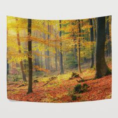 Foggy Yellow Deep Forest Autumn Tapestry Wall Hanging Woodland