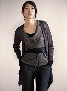 I covet this look. And I think I could get it to work on my short frame. A friend purchased the belt for me as a gift. Now I just need to find inexpensive versions of the 2 sweaters. Love me some Eileen Fisher.