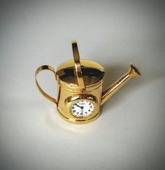 Miniature brass clock  Watering Pail  by WestmoonVintages on Etsy