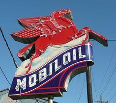 Mobil Oil and Pegasus Sign