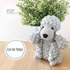 "Excited to share this item from my #etsy shop: AMIGURUMI PATTERN/ tutorial (English) Amigurumi Poodle Dog - ""Elsa the Poodle Puppy"" pdf - US terminology Elsa, Half Double Crochet, Single Crochet, Bulldogs, Yarn Dolls, Crochet Abbreviations, Doll Eyes, Dog Pattern, Types Of Yarn"