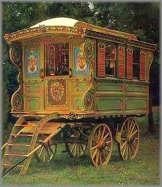 Gypsy caravan WAGON FOR FORTUNE TELLING.I was fascinated by Gypsy vans as a child.as an adult I loved Juliette De Bairacli Levy Herbal Lores of the Gypsy's lives.One of the reasons I became a Herbalist was reading her books so inspired me. Gypsy Life, Gypsy Soul, Arte Punch, Atelier D Art, Deco Boheme, Gypsy Wagon, Bohemian Gypsy, Gypsy Decor, Cool Stuff