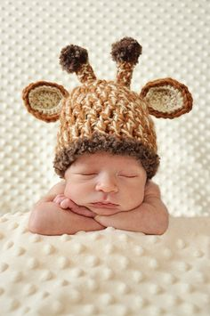 Newborn photography; giraffe hat