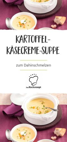 Cheese and potato cream soup- Kartoffel-Käsecreme-Suppe We could simply put ourselves in this soup – it& so delicious. In addition to potatoes, processed cheese is the big star of the potato and cheese cream soup. Healthy Soup, Healthy Snacks, Healthy Recipes, Casserole Recipes, Soup Recipes, Potato Recipes, Cream Soup, Cheese Soup, Potato Soup