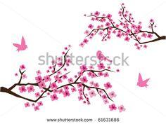 vector de flor de cerezo con aves