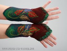 Felted Cuffs - Felted gloves - Felt hand warmers - Wool hand warmers - arm warmers  -  Pixie cuffs  - fairy clothing - Frosted Leaves